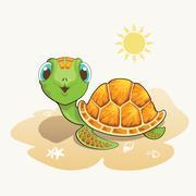 Cute turtle cartoon on the beach Stock Illustration