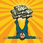 Businessman athlete holds a lot of money on legs Stock Illustration