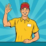 Happy fast food worker takes the order Stock Illustration