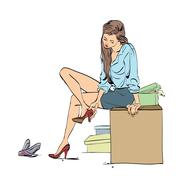 Beautiful young woman trying shoes in the store Stock Illustration