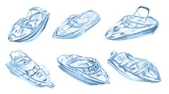 Watercolor motor boats. Stock Illustration
