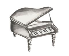 Watercolor isolated piano. Stock Illustration