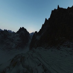 Aerial in sand canyon at sunrise Stock Footage