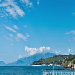 Scenic summer panorama of Black Sea pier Stock Footage