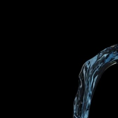 Flowing water background - light blue liquid on black (FULL HD) Stock Footage