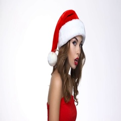 Woman in santa claus hat in trouble showing silence sign  Stock Footage