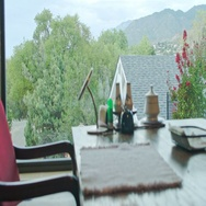 Kitchen Table with a View of outside Stock Footage