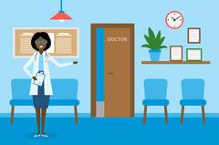 Doctor in waiting room. Stock Illustration