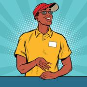 African American worker fast food gives the order Stock Illustration