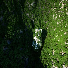 Mountain Cliffs with trees. Aerial Camera footage. Fantasy landscape Stock Footage