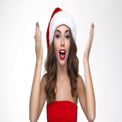 Woman in red santa claus costume opening her eyes and starting to cry Stock Footage