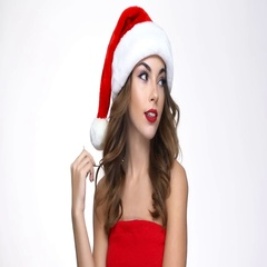 Woman in red santa claus costume hears good news Stock Footage