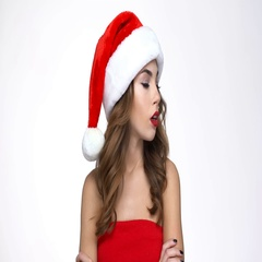 Woman in red santa claus costume gesturing with hands Stock Footage