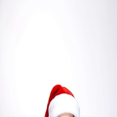 Woman in red santa claus outfit slowly peeping out and smiling on camera Stock Footage