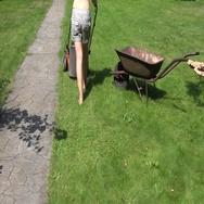 Gardener female woman in bra and shorts push mower near stone path. 4K Stock Footage