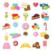 Tasty sweets set. Stock Illustration