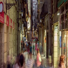 Timelapse of people traffic at the Gothic Quarter in Barcelona, Spain. Stock Footage