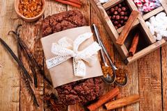 Chocolate cake with spice Stock Photos