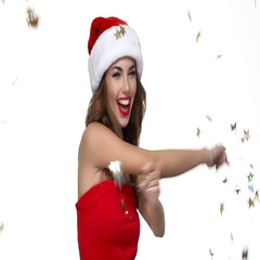 Woman in red santa claus dress showing okay sign Stock Footage