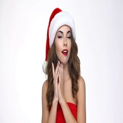 Woman in red xmas dress having an idea and gesturing with hands Stock Footage