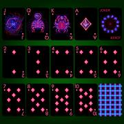 Playing cards series Neon Zodiac signs . Diamond suit playing cards full set Stock Illustration