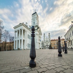Motorized timelapse of the City Hall of Minsk on the sunset, Belarus. Stock Footage