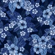 Indigo floral seamless pattern with hibiscus flowers Stock Illustration