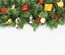 Christmas garland with toys and gifts on a isolated background. Stock Photos