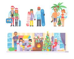 Family winter Christmas vacation vector Piirros