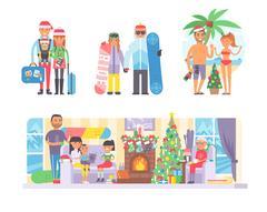 Family winter Christmas vacation vector Stock Illustration