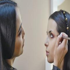 Makeup. Woman Make-up Applying closeup. Eyeliner. Cosmetic Eyeshadows. Eyeline Stock Footage