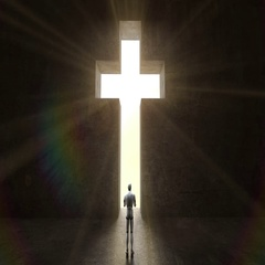 Robot, cyborg walking through shape of cross on the black wall. Stock Footage