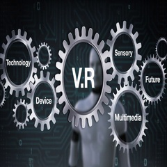 Gear with Technology, Device, Sensory, Future, Multimedia, Robot touching 'V R' Stock Footage