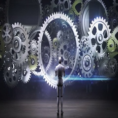 Robot standing big Gear wheels, connecting gear wheels.artificial intelligence Stock Footage