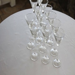 Empty glasses on the white table Stock Footage