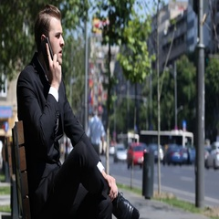 Supervisor Business Man Talking Cellphone Looking Disappointment Bench Street Stock Footage