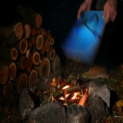 4K. Autumn Cozy evening with   tourist inflates bonfire. Close up Stock Footage