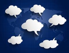 White paper cloud Speech Bubbles Stock Illustration