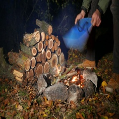 4K. Autumn Cozy evening with   tourist inflates bonfire Stock Footage