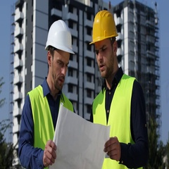 Engineer Men Analyzing Plans Modern Building Architecture Teamwork Collaboration Stock Footage