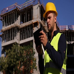 One Male Working Engineer Browse Digital Tablet Device Unfinished Project Back Stock Footage
