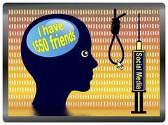 Social Media Depression Stock Illustration