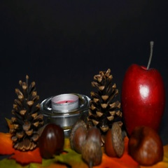Autumn decoration with candle Stock Footage