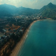 Aerial: Flying over the beautiful beach. Stock Footage