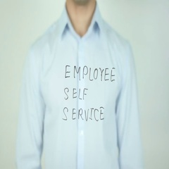 Employee Self Service, ESS, Writing On Transparent Screen Stock Footage