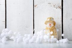 Candle Snowman and snow ball decorate for merry christmas  happy new year on Stock Photos