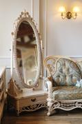 White beautiful mirror in luxury bedroom interior Stock Photos