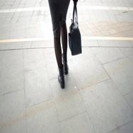 Female feet walking on the street. Stock Footage