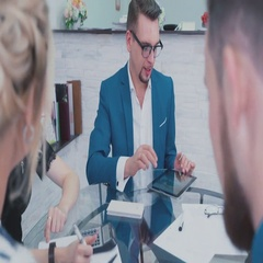 Portrait of a stylish man in a business suit and fashionable glasses Stock Footage