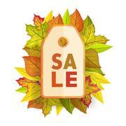 Autumn sale tag label template. Fall Pricetag Stock Illustration
